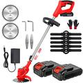 LIKE99 Grass Trimmer Electric Cordless String Trimmer Lawn Mower Edger Battery Powered Weed Grass Trimmer Brush Cutter Kit for Garden Clearing Weeds Flower Trees(24V 800W),2 battery