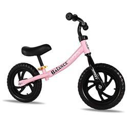 JIEJIE trikes Tricycle Trike Tricycle PresentTrike Children's Balance Bike, Pedalless Balance Bike Training Bike Adjustable Seat Handlebar Carbon Steel Frame Suitable for Children 2-6 Years Old,Pink