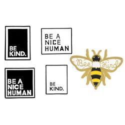 Be Kind Brooch: Be a Nice Human - White-Black