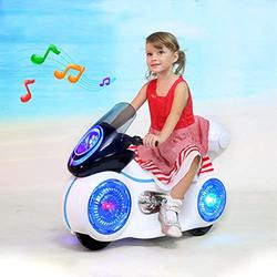 LUGUO Kids Ride-On Electric Go Kart - Safe Anti-Vibration Kids Trike w/ Headlights & Music - Kids Electric Motorcycle Tricycle for Kids Ages 3-6 - 3 Gears Adjustment & 6V Battery Powered Play Bike