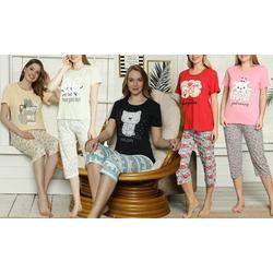 Women's Short-Sleeve Motif 3/4 Two-Piece Pyjama Set: Good Morning - Dried Rose/XL