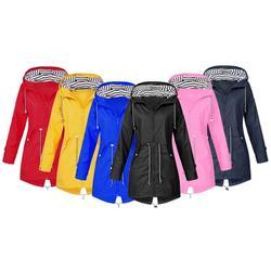 Women's Long Casual Waterproof Raincoat: Dark Blue/UK 18