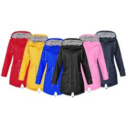 Women's Long Casual Waterproof Raincoat: Red/UK 16