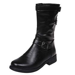 JDGY Block Heel Half Length Boots Women's Long Shaft Boots Retro Leather Knight Boots with Zip Women Ankle Boots Round Toe Slip On Boots Women's Boots, black, 39 EU