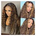 QAZPL Highlight lace front wig, deep wave, human hair, P4/27, women's wig (Color : 5 x 5 wig, Size : 20 inch)