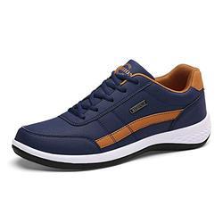 XUENING Casual Shoes Leather Men's Shoes Trend Casual Shoes Men's Sports Shoes Italy Breathable Casual Men's Shoes (Color : Blue, Size : 11)