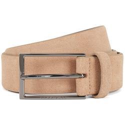 Calindo Dark Suede Belt With Polished Gunmetal Buckle 50375225 - Brown - BOSS by Hugo Boss Belts