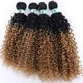 Easy To Braid Double Color Afro Kinky Curly Hair Weave Bundles High Temperature Synthetic Brazilian Hair Extensions For Black Women-T1B/27_20 20 20 20 Inch