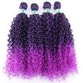Hair Extensions Double Color Afro Kinky Curly Hair Weave Bundles High Temperature Synthetic Brazilian Hair Extensions For Black Women-M1B-Purple_20 20 20 20 Inch
