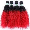 Easy To Braid Double Color Afro Kinky Curly Hair Weave Bundles High Temperature Synthetic Brazilian Hair Extensions For Black Women-T1B/Red_20 20 20 20 Inch