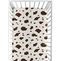 Wild West Cowboy Fitted Cot Crib Sheet for Baby and Toddler Bedding Sets by Sweet JoJo - Cow Print