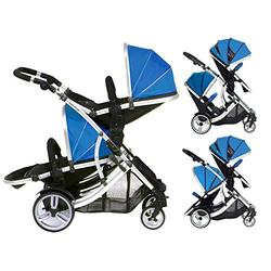 DUELLETTE 21 BS Twin Double Pushchair Tandem Stroller buggy 2 seat units, compatible with Kids Kargo safety Pod Car seat OR maxi cosi clips or Britax Baby safety Car seat. (sold separately) 2 Free Teal footmuffs 2 Free rain covers Black /Teal Silver...