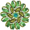 PYNK Jewellery Brooches Store Large Peridot Green Crystal Spiral Sunflower Brooch