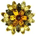 SA Brooches Baltic Amber and Sterling Silver 925 Multi-Coloured Flower Leaf Brooch pin Jewellery Jewelry