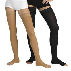 23-32 mmHg Medical Compression Stockings with Open Toe, Firm Grade Class II, Thigh High Support Socks Without Toecap (XL (Body Height 62.2-66.9 inch), Black)