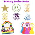 Primary Teacher Praise 6 Stamp Box Set. Contains: Gold star, Excellent (thumbs up), Good work/Keep it up, Great work/Well done/Bee proud, Great work, Smiley face