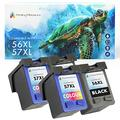 Printing Pleasure 4 (2 SETS) Remanufactured Ink Cartridges Replacement for HP 56 & HP 57 for Officejet 5610 4215 PSC 1210 1315 Photosmart 7260 7350 7450 7660 C4280 C5280 - Black/Colour, High Capacity