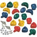 Garden Games 20 Packs of Premium Climbing Holds High Grip Polyresin with Stainless Steel Fixings (Multicoloured)