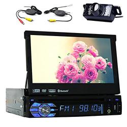 """7""""Touch Detachable Screen Bluetooth Car GPS Navigation Player One din Car Stereo DVD CD Audio Player USB SD FM AM Reciver Headunit Steering Wheel Control Single DIN Car Radio with gps map Free Back Camera"""
