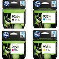 HP 934XL Multipack Original Ink Cartridges (Black, Cyan, Magenta, Yellow) with High Yield for HP Officejet Pro