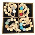 Coskiss 4Pcs Baby Bracelet Wooden Teether Amigurumi Eco-Friendly Baby Teething Toys Infant Chew Bangle Shaped Rattle Christmas Gift (Color 11)