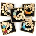 Coskiss 5Pcs Baby Bracelet Wooden Teether Amigurumi Eco-Friendly Baby Teething Toys Infant Chew Bangle Shaped Rattle Christmas Gift (Color 13)
