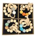 Coskiss 4Pcs Baby Bracelet Wooden Teether Amigurumi Eco-Friendly Baby Teething Toys Infant Chew Bangle Shaped Rattle Christmas Gift (Color 12)