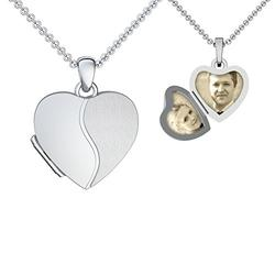 Heart Locket silver necklace pendant photo for children kids or girlfriend heart shaped lockets for pictures heart medallion mothers day gifts from daughter Sterling Silver 925 FF99SS92545.UK