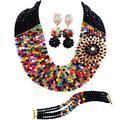 laanc Necklace Set 10 Rows Multicolor and Black Crystal Nigerian Wedding African Beads Jewelry Sets