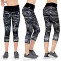 Formbelt Women Running Capri 3/4 Tights with Waist-Pocket for Smartphone Mobile Key Credit Cards/Sports Leggings Integrated Belt – Fitness Cycling Trail Gym (marble, S)