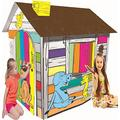LITTLEFUN My Own Coloring Playhouse Kid Foldable Play House Kit Premium Paper Corrugated Cardboard Child DIY Hand Drawing Painting and Imagination Training Toy Markers Included (Happy Farm Cottage)