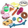 Pets Dog Toys Jumbo set di 12 pezzi durevole Doggie giocattoli (Toy balls Chew Toys dischi volanti giocattolo corde Squittio giocattoli per cani accessori giocattoli del cane interattivo per pulire denti per divertimento e per allenamento)