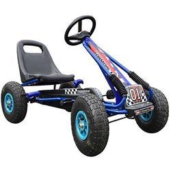 PROGEN PEDAL KART CHILDREN'S PEDAL RIDE ON CAR RACING TOY RUBBER WHEELS TYER GO-KART (BLUE)