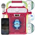 Singing Machine SML682BTP Bluetooth and CD Karaoke Machine with LED Lights and Microphone - Pink