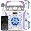 Singing Machine SML682BTW Bluetooth and CD Karaoke Machine with LED Lights and Microphone, White