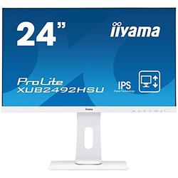 iiyama ProLite XUB2492HSU-W1 60.5 cm, 23.8 Pollici, IPS LED-Monitor Full-HD, VGA, HDMI, DisplayPort, USB2.0, Ultra-Slim-Line, Regolabile in Altezza, Pivot, Bianco