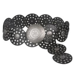 """3 1/2"""" (90 mm) Wide Ladies Wide Boho Disc Concho Leather Belt, Black   XXL - 51 END-TO-END"""