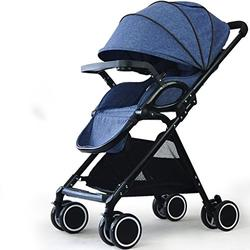 Fashion Single Hand One Bond Folding Newborn Stroller, High Landscape Ultralight Portable Baby Umbrella Cart, Large Storage Height Adjustable Children Pushchairs (Color : Blue)