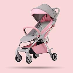 0-3 Years Old Baby Four Wheels Single-hand Folding Pushchairs, Fashion Ultra-light Portable Newborn Baby Umbrella Cart, Adjustable Height Aluminum Alloy Baby Stroller (Color : Pink)