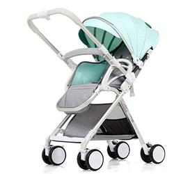 Single Hand Folding Sit or Lie Baby Stroller, Ultra-light Portable Shock-absorbing Summer and Winter Dual-use Baby Pushchairs, High Landscape Adjustable Height Aluminum Alloy Children's Umbrella Pushchair ( Color : Green )