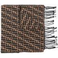 Ff Logo Knit Scarf - Brown - Fendi Scarves