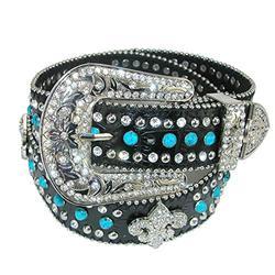 CTM Women's Fleur de Lis Studded Diamante Belt, Small, Turquoise