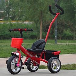 &Baby Pushchair Baby Tricycle, Convertible Pedal Trike Push Bike Easy Steer Tricycle Stroller Toy Car (Color : RED)