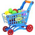 YiyiLai Kids Play House Supermarket Shopping Cart Toy Trolley 25PCS Food Blue L