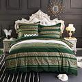 USTIDE Green Bohemian Exotic Style Boho Duvet Cover Set Gold Blocking Striped Bedding Set 100% Cotton Bedding Set Single Size