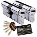 Avocet ABS High Security Euro Cylinder Keyed Alike Pairs - Anti Snap Locks - TS007 3 Star 50mm Int 50mm Ext Chrome