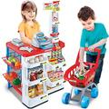 Allkindathings Pretend Play Toy Supermarket Shop Set Grocery and Trolley
