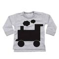 Little Mashers - Chalkboard Toddler Sweatshirt Train Design Grey - 1-2 Years - Grey/Black