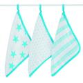 Aden & Anais - Cotton Fluro Star Washcloth Set - BLUE - Blue/Pink/White