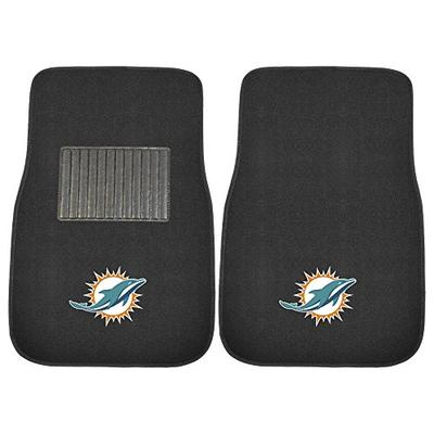 FANMATS 10755 NFL Miami Dolphins 2-Piece Embroidered Car Mat